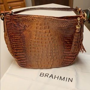 Brahmin brown crocodile leather purse
